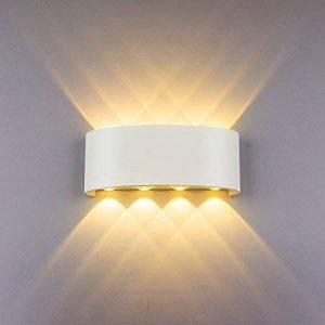 Appliques Murales Interieur LED Lampe 8w étanche Moderne Applique Murale en Aluminium Blanc pour Chambre Maison Couloir Salon (Blanc Chaud) de la marque NetBoat image 0 produit