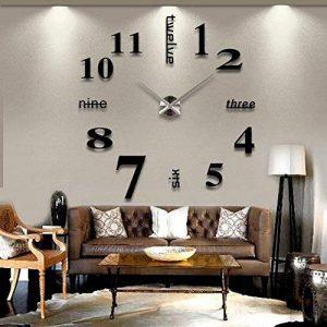 Asvert Grande Horloge Murale 3D DIY Design Moderne Décorations Numérique en Acrylique pour Salon (Noir-1) de la marque Asvert image 0 produit