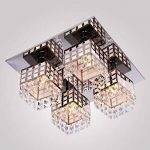 Asvert Plafonnier en Cristal LED Moderne Lustre en Acier Inoxydable 4 Lumière Carré Eclairage Elégante pour Salon Restaurant Hotêl Bar 42 x 42 x 20 cm de la marque Asvert image 3 produit