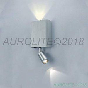 AUROLITE 1 LUMIÈRE LED SUPPORT MURAL AVEC LUMIÈRE DE LECTURE LED FLEXIBLE, Aluminium Brossé, 19cm x 9cm x 3.3cm, IDEAL POUR SALON, CHAMBRE, COULOIR, 2018 NOUVELLE ÉDITION de la marque AUROLITE image 0 produit