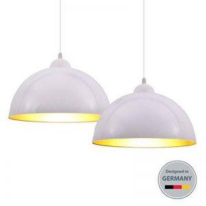 B.K. Licht 2x Lampes suspendues Industriel Vintage Suspension Φ 30cm Ampoules E27, noir ou blanc, pour le salon salle à manger, le restaurant, la cave le sous-sol, etc. de la marque B.K.Licht image 0 produit