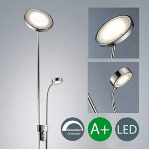 B.K. Licht lampadaire LED avec liseuse fexible, dimmable, lampe salon salle à manger, luminaire design métal/verre, 230V, IP20, 21W, hauteur 1800 mm de la marque B.K.Licht image 0 produit