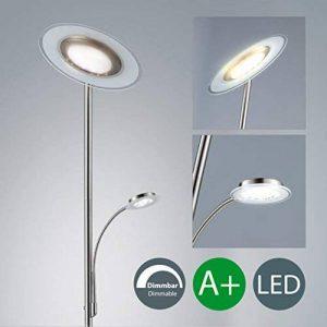 B.K. Licht lampadaire à vasque LED, lampadaire avec liseuse flexible, fonction TOUCH, luminaire salon salle à manger, éclairage intérieur, 230V, IP20, 21W, hauteur 1795mm de la marque B.K.Licht image 0 produit