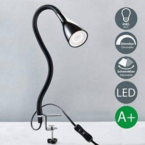 B.K. Licht Lampe LED à pince ampoule réglable GU10 incluse 5W 400lm avec 3 niveaux de luminosité 360 ° Lampe de lecture à col de cygne flexible pour chambre à coucher ou bureau métal plastique de la marque B.K.Licht image 0 produit