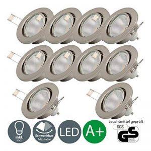 B.K. Licht lot de 10 spots encastrables orientables, 10 ampoules 5W LED GU10 incluses, éclarage plafond intérieur, blanc chaud, 230V, IP23 de la marque B.K.Licht image 0 produit