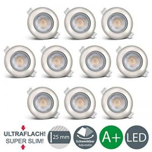 B.K. Licht lot de 10 spots LED encastrables, 10x5W, 450lm, 3000K, plafonnier spots LED, blanc chaud, ultra plats, orientables, profondeur 30mm, IP23 de la marque B.K.Licht image 0 produit
