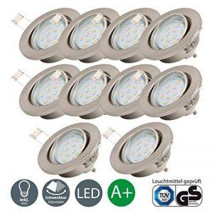 B.K. Licht lot de 10 spots LED encastrables ultra-plats, 10x3W, 250lm, orientables, 230V, classe énergétique A+, profondeur d'encastrement 30mm de la marque B.K.Licht image 0 produit