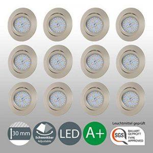 B.K. Licht lot de 12 spots LED encastrables ultra-plats, orientables, plafonnier design, éclairage encastré LED intérieur, blanc chaud, 230V, IP23, 12x5W de la marque B.K.Licht image 0 produit