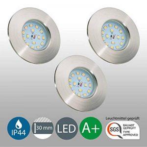 B.K. Licht lot de 3 spots LED IP44 pour salle de bain, encastrables ultra-plats, 3X5W LED inclus, plafonnier salle de bain, éclairage salle de bain encastrable, 230V, IP44 de la marque B.K.Licht image 0 produit