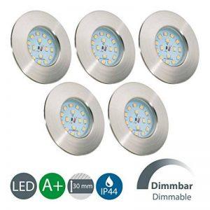 B.K. Licht lot de 5 spots salle de bain LED encastrables ultra-plats dimmables, IP44, éclairage plafond salle de bain, plafonnier encastrable dimmable, blanc chaud, 230V, 5x5,5W de la marque B.K.Licht image 0 produit