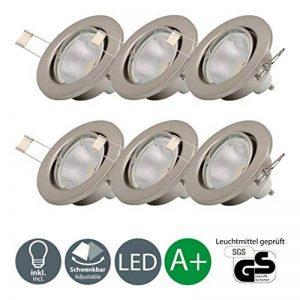 B.K. Licht lot de 6 spots encastrables orientables, 6 ampoules LED 5W incluses, 230V, GU10, IP23, éclairage plafond encastrable, blanc chaud, 6x5W de la marque B-K-Licht image 0 produit