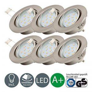 B.K. Licht lot de 6 spots encastrables orientables, ampoules LED GU10 6X3W fournies, éclairage plafond, luminaire encastrée, blanc chaud, 230V, IP23 de la marque B.K.Licht image 0 produit