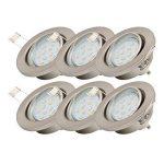 B.K. Licht lot de 6 spots encastrables orientables, ampoules LED GU10 6X3W fournies, éclairage plafond, luminaire encastrée, blanc chaud, 230V, IP23 de la marque B.K.Licht image 1 produit