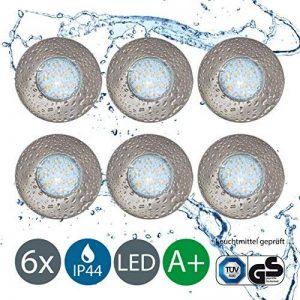 B.K. Licht lot de 6 spots encastrables orientables, spots salle de bain, plafonnier spot salle de bain orientable encastrable,6x3W, 230V, GU10, IP44, lumière chaude, métal nickel mat, classe énergétique A+, 250lm de la marque B.K.Licht image 0 produit