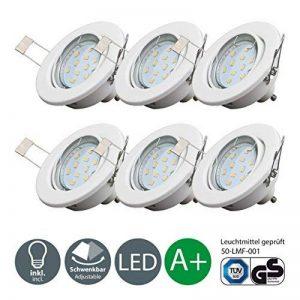 B.K. Licht lot de 6 spots LED encastrables orientables, ampoules LED GU10 incluses, plafonnier design, éclairage LED intérieur, blanc chaud, 230V, IP23, 6x3W de la marque B-K-Licht image 0 produit