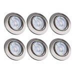 B.K. Licht lot de 6 spots LED encastrables orientables dimmables, ampoules 6x5W incluses, GU10, IP23, luminaire plafond, spots plafond, luminaires ronds encastrables, blanc chaud, 230V, IP23 de la marque B.K.Licht image 1 produit