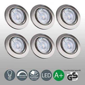 B.K. Licht lot de 6 spots LED encastrables orientables dimmables, ampoules 6x5W incluses, GU10, IP23, luminaire plafond, spots plafond, luminaires ronds encastrables, blanc chaud, 230V, IP23 de la marque B.K.Licht image 0 produit
