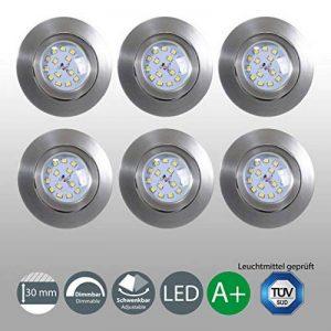 B.K. Licht lot de 6 spots LED encastrables ultra-plats, orientables, dimmables, plafonnier design, éclairage plafond LED intérieur, luminaire plafond encastrable, blanc chaud, 230V, IP23, 6x5,5W de la marque B-K-Licht image 0 produit
