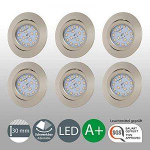 B.K. Licht lot de 6 spots LED encastrables ultra-plats, orientables, plafonnier design, éclairage encastré LED intérieur, blanc chaud, 230V, IP23, 6x5W de la marque B.K.Licht image 0 produit