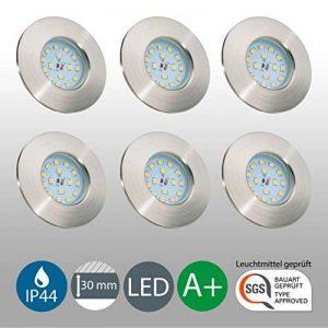 B.K. Licht lot de 6 spots LED IP44 pour salle de bain, encastrables ultra-plats, 6X5W LED inclus, plafonnier salle de bain, éclairage salle de bain encastrable, 230V, IP44 de la marque B-K-Licht image 0 produit