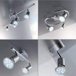 B.K. Licht plafonnier 2 spots LED orientables, spots plafond orientables, ampoules LED GU10 2X3W fournies, éclairage plafond LED cuisine chambre salon, blanc chaud, 230V, IP20 de la marque B-K-Licht image 4 produit