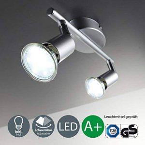 B.K. Licht plafonnier 2 spots LED orientables | spots plafond orientables | ampoules LED GU10 2X3W fournies | éclairage plafond LED cuisine chambre salon | blanc chaud | 230V | IP20 de la marque B.K.Licht image 0 produit