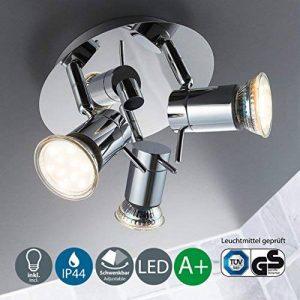 B.K. Licht plafonnier 3 spots LED orientables, plafonnier salle de bain IP44, éclairage plafond, lumière blanche chaude, 230V, IP44, 3x3W GU10 de la marque B.K.Licht image 0 produit