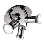 B.K. Licht plafonnier 3 spots LED orientables, plafonnier salle de bain IP44, éclairage plafond, lumière blanche chaude, 230V, IP44, 3x3W GU10 de la marque B.K.Licht image 1 produit