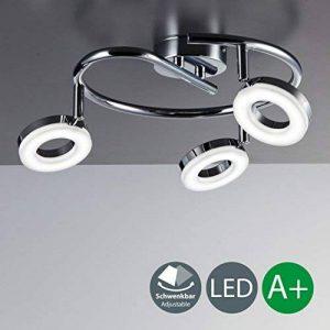 B.K. Licht plafonnier 3 spots orientables LED, luminaire plafond orientable, salon salle à manger chambre couloir, lumière blanche chaude, 230V, IP20, 3x4W de la marque B.K.Licht image 0 produit