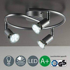 B.K. Licht plafonnier 3 spots pivotants, ampoules LED GU10 fournis, lampe moderne, éclairage intérieur, lumière blanche chaude, chambre salon cuisine salle à manger, 230V, IP20, 3x3W de la marque B.K.Licht image 0 produit