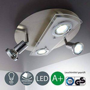 B.K. Licht plafonnier 4 spots LED, 2 spots fixes, 2 spots orientables, 4X3W, GU10, plafonnier salon salle à manger couloir cuisine, luminaire plafond intérieur, blanc chaud, 230V, IP20 de la marque B.K.Licht image 0 produit