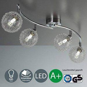 B.K. Licht plafonnier 4 spots LED orientables boules en cristal, luminaire moderne design, éclairage intérieur blanche chaude, lampe plafond chambre salon couloir cuisine, 230V, G9, IP20, 4x3,5W de la marque B-K-Licht image 0 produit