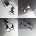 B.K. Licht plafonnier 4 spots LED orientables, GU10, 4 spots plafond x3W, lumière blanche chaude, plafonnier chambre salon cuisine bureau, 230V, IP20, 4x3W inclus de la marque B.K.Licht image 4 produit