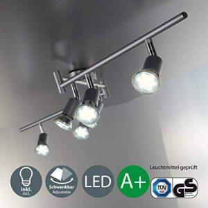 B.K. Licht plafonnier 6 spots orientables avec ampoules LED GU10, spots plafond, éclairage intérieur salon salle à manger cuisine couloir chambre, lumière blanche chaude, 230V, IP20, 6x3W de la marque B.K.Licht image 0 produit
