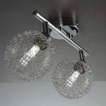 B.K. Licht plafonnier LED 2 spots boules de cristal, spots plafond orientables, luminaire intérieur moderne, éclairage chambre salon couloir, lumière blanche chaude, 230V, IP20, 2x3,5W de la marque B.K.Licht image 2 produit