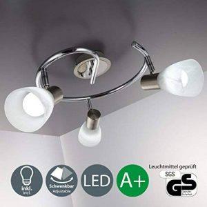 B.K. Licht plafonnier LED 3 spots orientables, spots plafond chambre salon salle à manger couloir cuisine, éclairage LED intérieur orientable, métal/verre, lumière blanche chaude, 230V, IP20, 3x5,5W de la marque B.K.Licht image 0 produit