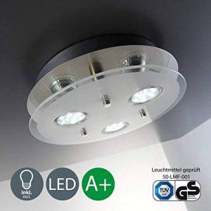 B.K. Licht plafonnier LED 3 spots, spots plafond, éclairage plafond cuisine salon salle à manger chambre, lumière blanche chaude, 230V, IP20, 3x3W de la marque B.K.Licht image 0 produit