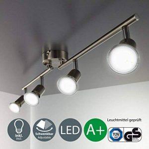 B.K. Licht plafonnier LED 4 spots orientables, 4X3W, GU10, IP20, spots plafond LED salon salle à manger chambre cuisine couloir, lumière blanche chaude, classe énergétique A+ de la marque B-K-Licht image 0 produit