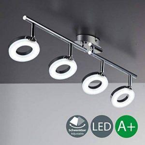 B.K. Licht plafonnier LED 4 spots orientables, luminaire plafond salon chambre bureau salle à manger, éclairage plafond, blanc chaud, 230V, IP20, 4x4W de la marque B.K.Licht image 0 produit