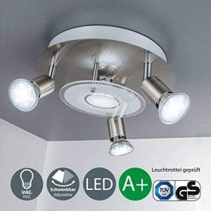B.K. licht plafonnier LED, 4 spots x3W inclus, spots LED orientables, éclairage salon, salle à manger, cuisine, chambre, lumière blanche chaude, 230V, IP20 de la marque B.K.Licht image 0 produit