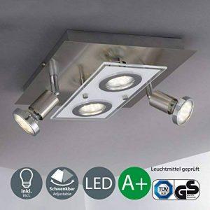 B.K. Licht plafonnier LED spots orientables, éclairage intérieur moderne, lumière chambre salon couloir, blanc chaud, 230V, IP20, 4x3W, GU10 de la marque B.K.Licht image 0 produit
