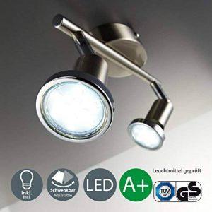 B.K. Licht plafonnier led, spots plafond orientables, éclairage plafond LED cuisine chambre salon, blanc chaud, 230V, GU10, IP20, 2x3W de la marque B.K.Licht image 0 produit