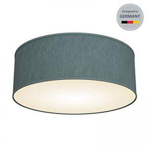 B.K.Licht plafonnier rond design épuré, Ø 300mm, abat-jour tissu gris-pétrole, luminaire salon salle à manger chambre couloir, pour 2 ampoules E14 (non incluses) de la marque B.K.Licht image 0 produit