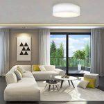 B.K.Licht plafonnier rond design épuré, Ø 400mm, abat-jour tissu blanc, luminaire salon salle à manger chambre couloir, pour 3 ampoules E14 (non incluses) de la marque B.K.Licht image 4 produit