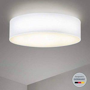 B.K.Licht plafonnier rond design épuré, Ø 400mm, abat-jour tissu blanc, luminaire salon salle à manger chambre couloir, pour 3 ampoules E14 (non incluses) de la marque B.K.Licht image 0 produit