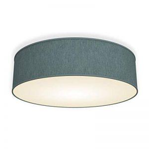 B.K.Licht plafonnier rond design épuré, Ø 400mm, abat-jour tissu gris-pétrole, luminaire salon salle à manger chambre couloir, pour 3 ampoules E14 (non incluses) de la marque B.K.Licht image 0 produit