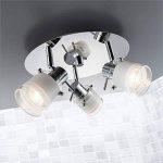 B.K. Licht plafonnier salle de bain 3 spots LED, ampoules GU10 incluses, éclairage intérieur, luminaire plafond salle de bain, spots orientables, lumière blanche chaude, 230V, IP44, 3x5W, Ø 250mm de la marque B.K.Licht image 1 produit