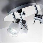 B.K. Licht plafonnier salle de bain 3 spots LED, ampoules GU10 incluses, éclairage intérieur, luminaire plafond salle de bain, spots orientables, lumière blanche chaude, 230V, IP44, 3x5W, Ø 250mm de la marque B.K.Licht image 3 produit