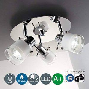 B.K. Licht plafonnier salle de bain 3 spots LED, ampoules GU10 incluses, éclairage intérieur, luminaire plafond salle de bain, spots orientables, lumière blanche chaude, 230V, IP44, 3x5W, Ø 250mm de la marque B.K.Licht image 0 produit