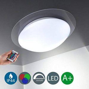 B.K. Licht plafonnier salle de bain dimmable, 16 couleurs, avec télécommande, platine LED incluse, 230V, IP44, lampe plafond salle de bain, luminaire blanche et couleurs, 12W de la marque B.K.Licht image 0 produit